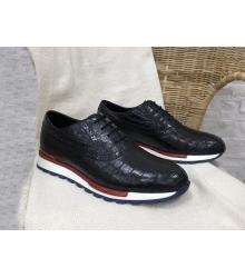 Кроссовки мужские Louis Vuitton (Луи Виттон) Run Away натуральная кожа крокодила Black/Red