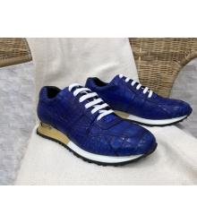 Кроссовки мужские Louis Vuitton (Луи Виттон) Run Away натуральная кожа крокодила Blue/Gold