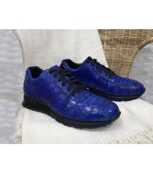 Кроссовки мужские Louis Vuitton (Луи Виттон) Run Away натуральная кожа крокодила Blue