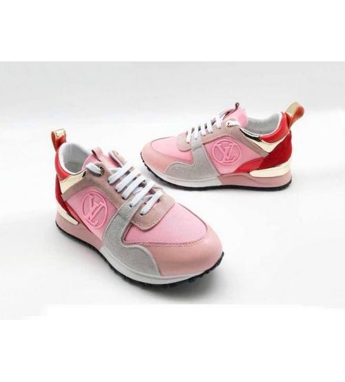 Женские кроссовки Louis Vuitton (Луи Виттон) Run Away текстиль Pink