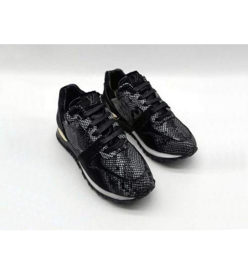 Женские кроссовки Louis Vuitton (Луи Виттон) Run Away текстиль рептилия Black