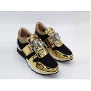 Женские кроссовки Louis Vuitton (Луи Виттон) Run с камнями и стразами Black/Gold
