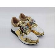 Женские кроссовки Louis Vuitton (Луи Виттон) Run с камнями и стразами White/Gold