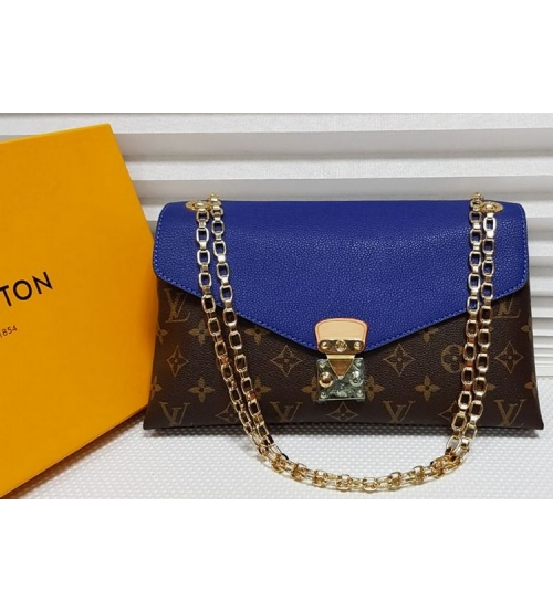 Женская сумка Louis Vuitton (Луи Виттон) с цепочкой Brown/Blue