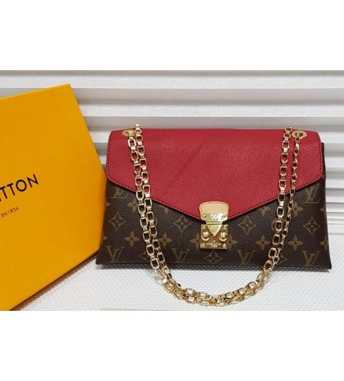 Женская сумка Louis Vuitton (Луи Виттон) с цепочкой Brown/Red