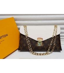 Женская сумка Louis Vuitton (Луи Виттон) с цепочкой Brown/White