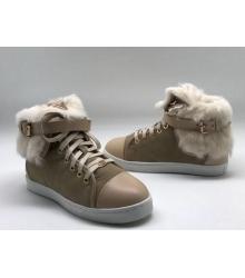 Зимние женские кеды Louis Vuitton (Луи Виттон) с мехом замшевые Beige