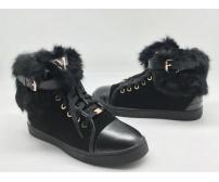 Зимние женские кеды Louis Vuitton (Луи Виттон) с мехом замшевые Black