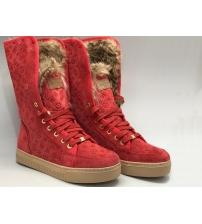 Женские зимние кеды Louis Vuitton (Луи Виттон) с мехом замшевые Red