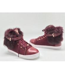 Зимние женские кеды Louis Vuitton (Луи Виттон) с мехом замшевые Red