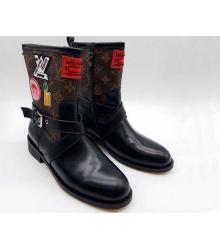 Женские полусапоги Louis Vuitton (Луи Виттон) с принтом и вышивкой Black/Brown