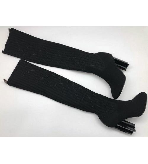 Ботфорты женские Louis Vuitton (Луи Виттон) Silhouette из текстиля Black