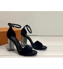 Женские босоножки Louis Vuitton (Луи Виттон) Silhouette летние бархат на массивном каблуке Black
