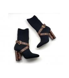 Ботильоны женские Louis Vuitton (Луи Виттон) Silhouette текстиль на каблуке Black/Brown