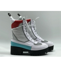 Женские ботинки Louis Vuitton (Луи Виттон) Star Trail Ankle Boot Laureate кожаные высокие на шнурках White/Red