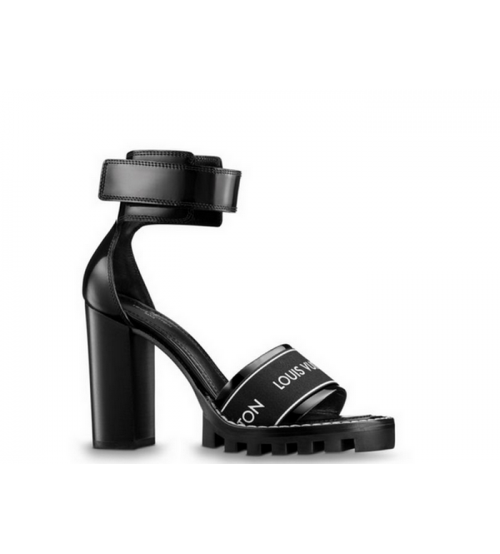 Босоножки женские Louis Vuitton (Луи Виттон) Star Trail кожаные Black
