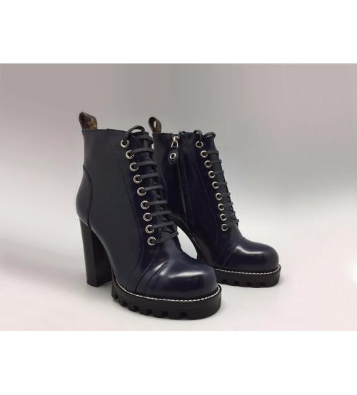 Ботильоны женские Louis Vuitton (Луи Виттон) Star Trail кожаные на платформе Dark Blue