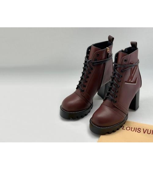 Ботильоны женские Louis Vuitton (Луи Виттон) Star Trail кожаные на платформе каблук 8см Bordo