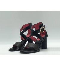 Женские босоножки Louis Vuitton (Луи Виттон) Star Trail кожаные на толстом каблуке 9,5 см Black