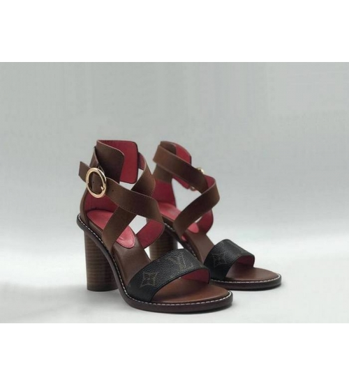 Женские босоножки Louis Vuitton (Луи Виттон) Star Trail кожаные на толстом круглом каблуке 9,5 см Brown/Black