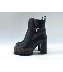 Ботильоны женские Louis Vuitton (Луи Виттон) Star Trail Monogram кожаные на каблуке Black/Brown