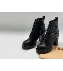 Ботильоны женские Louis Vuitton (Луи Виттон) Star Trail на платформе кожаные каблук 8см Black