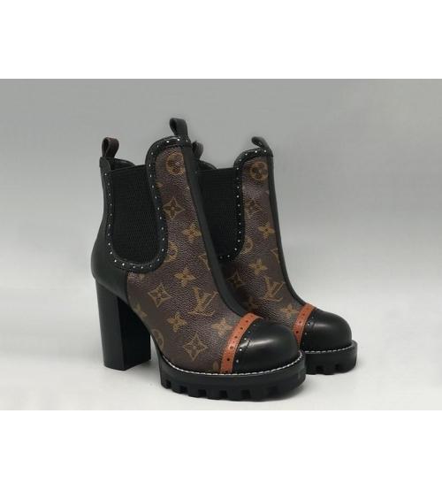 Ботильоны Женские Louis Vuitton (Луи Виттон) Star Trial кожаные на высоком толстом каблуке Brown/Black