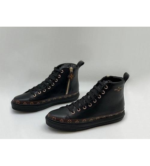Женские кеды Louis Vuitton (Луи Виттон) Stellar кожаные отделкой из канвы Monogram Black