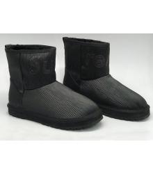 Женские угги Louis Vuitton (Луи Виттон) Supreme кожаные Black