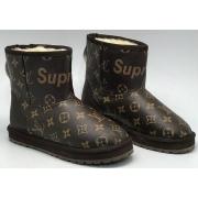 Женские угги Louis Vuitton (Луи Виттон) Supreme кожаные Brown