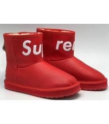 Угги женские Louis Vuitton (Луи Виттон) Supreme кожаные Red
