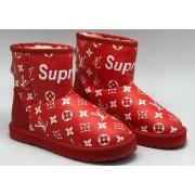 Женские угги Louis Vuitton (Луи Виттон) Supreme кожаные Red