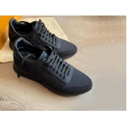 Кроссовки мужские Louis Vuitton (Луи Виттон) текстиль на шнурках Black