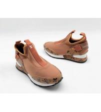 Женские кроссовки Louis Vuitton (Луи Виттон) текстиль с принтом без шнуровки Beige