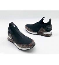 Женские кроссовки Louis Vuitton (Луи Виттон) текстиль с принтом без шнуровки Black