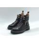Ботинки женские Louis Vuitton (Луи Виттон) Territory кожаные на шнуровке с ремнем Black