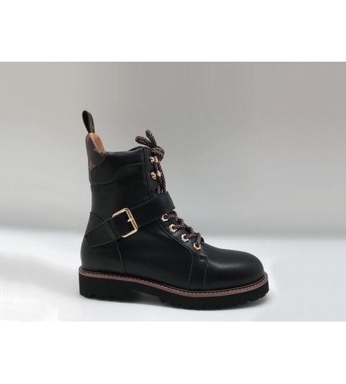 Ботинки женские Louis Vuitton (Луи Виттон) Territory осенние кожаные с ремешком Black
