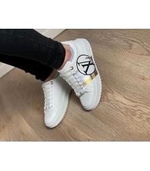 Женские кеды Louis Vuitton (Луи Виттон) Time Out кожаные логотипом LV Circle White