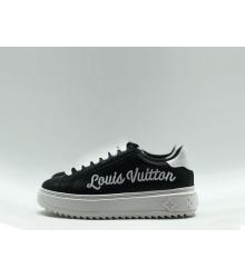 Женские кеды Louis Vuitton (Луи Виттон) Time Out кожаные принт LV Black
