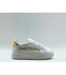 Женские кеды Louis Vuitton (Луи Виттон) Time Out кожаные с логотипом White/Gold