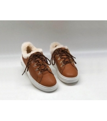 Кеды зимние женские Louis Vuitton (Луи Виттон) Time Out кожаные с мехомl Brown