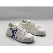 Женские кроссовки Louis Vuitton (Луи Виттон) Time Out летние кожаные с лого White/Blue