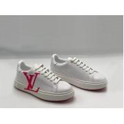 Женские кроссовки Louis Vuitton (Луи Виттон) Time Out летние кожаные с лого White/Red