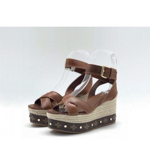 Женские босоножки Louis Vuitton (Луи Виттон) Timelapse кожаные на платформе Brown