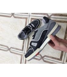 Кроссовки мужские Louis Vuitton (Луи Виттон) Trainer кожаные на шнуровке Gray