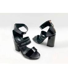 Босоножки женские Louis Vuitton (Луи Виттон) Uncover кожаные толстом каблуке Black