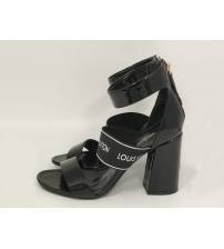 Женские босоножки Louis Vuitton (Луи Виттон) Uncover кожаные толстом каблуке Black