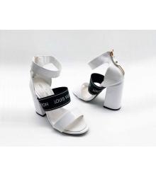 Босоножки женские Louis Vuitton (Луи Виттон) Uncover кожаные толстом каблуке White