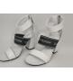 Женские босоножки Louis Vuitton (Луи Виттон) Uncover кожаные толстом каблуке White