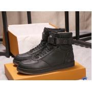Кеды мужские Louis Vuitton (Луи Виттон) высокие кожаные принт логотип Black